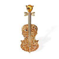 eşarp için takılar toptan satış-Newest  Yellow White Crystal Musical Violin Brooches Coat Bag Pin Badge For Kids Girls Boys Scarf Jewelry