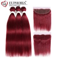 Wholesale burgundy hair weaves for sale - Group buy 99J Burgundy Straight Human Hair Bundles With Frontal x4 Euphoria Brazilian Red Colored Remy Bundle Hair Weaves With FrontalMX190921