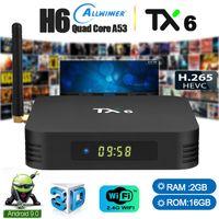 caixa de tv h.265 2gb 16gb venda por atacado-Caixas de Android Allwinner H6 TX6 Caixa de TV 9.0 TV Inteligente Tv Streaming Box suporte Bluetooth 5.1 2 GB 16 GB 2.4G WiFi 4 K H.265