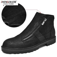 çizme astarı toptan satış-Erkekler Fotwear Tam Tahıl Deri Çizme Erkekler Iş Siyah Ayakkabı Kış Peluş Boot Ile Zip Yumuşak Microfleece Astar Için Eklenen Sıcaklık