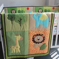 Wholesale baby boy cot bedding sets for sale - Group buy Cot Boy bedding set Embroidery D lion elephant deer tree Baby bedding set Item Crib Baby Quilt Bumper Fitted Sheet