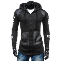 кардиган кожаные рукава оптовых-Autumn New Fashion Leather Sweatshirt Cardigans Slim Long Sleeve Hooded Casual Jacket Zipper Coat Outerwear Mens Hoodies clothes