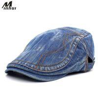 ingrosso berretto da berretto blu-Minhui Uomo Donna Classic Blue Denim Cappelli Moda Ricamo Berretti Piatti Berretto Regolabile Cappello Copricapo Vintage