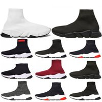 Wholesale cotton football socks online - Hot sale Speed Trainer Luxury Shoes red grey black white Flat Classic Socks Boots Sneakers Women Trainers Runner size
