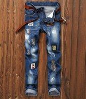 insignes en tissu achat en gros de-2019 nouvelle arrivée! Nouveau badge jeans pour hommes trou patch tissu Europe et les États-Unis commerce extérieur pantalon droit slim hommes