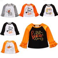 tops kız gömlek tasarımı toptan satış-Bebek Cadılar Bayramı T-Shirt 8 Tasarım Pamuk Karikatür Kabak Hayalet Mektup Baskılı Aplike Dantel Üst Çocuk Giysi Tasarımcısı Kızlar 1-6 T 04 Tops