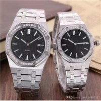 diamantes de aço novo relógio de mulher preto venda por atacado-Novos homens mulheres senhora relógio de aço inoxidável japonês quartzo safira prata preto branco diamantes relógios