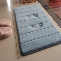alfombra de baño de memoria al por mayor-Alfombras de piso de baño de rebote lento Memoria coralina Moderno Conciso Absorbente Alfombras antideslizantes Suave y cómodo Ecológico Mat 17md4C1