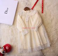 bordado bordado dimensional venda por atacado-As meninas se vestem crianças roupas de grife tridimensional bordado lace + algodão forro vestido moda outono novos vestidos