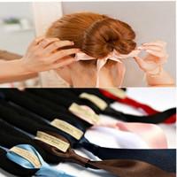 Wholesale fashion hair buns resale online - Women s Fashion New Hair Accessories Band Hair Bun Head Manufacturer Hair Care Magic Bowknot Tape Tool