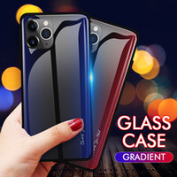 Wholesale carbon fibre cases for iphone online – custom Heavy TPU Phone Case Gradient Tempered Glass Case Shockproof Carbon Fibre Back Coverde For iPhone XR XS MAX X