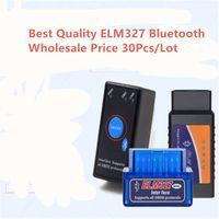 ingrosso opel in bianco chiave dell'automobile-Prezzo all'ingrosso 30pcs ELM327 Bluetooth V1.5 Pic1825K80 circuito integrato OBD2 Strumento diagnostico 327 Scanner con pulsante interruttore
