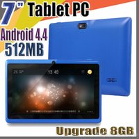 inç flaşlı kamera tabletleri toptan satış-20X7 inç Kapasitif Allwinner A33 Dört Çekirdekli Android 4.4 çift kamera Tablet PC Yükseltme 8 GB 512 MB WiFi Youtube Facebook Google flaş C-7PB