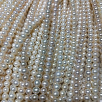 Wholesale cultured pearls loose for sale - Group buy 7mm Round Natural Cultured Freshwater Loose Pearl Strands