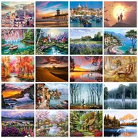 Wholesale arts painting scenery for sale - Group buy HUACAN Picture By Numbers City Scenery Kits Drawing On Canvas HandPainted Painting Art Gift DIY Home Decoration