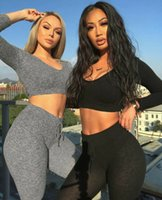 Wholesale knit yoga pants for sale - Group buy Women Knit Yoga Sets Solid Sportwear Autumn Winter Female Workout Sets V Neck Long Sleeve Jumper High Waist Pencil Pants Outfits xy19