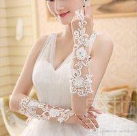 kurze fingerlose elfenbein braut handschuhe großhandel-2019 Lace Bridal Gloves Appliques Handschuhe für Hochzeiten White Ivory Short Wedding Gloves Fingerless Bridal