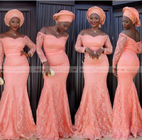 Wholesale long sleeve formal dresses online - 2019 Aso Ebi Style Women Formal Evening Dresses Long Sleeves Off Shoulder Mermaid Coral Lace Plus Size Arabic Mother of the Bride Gowns