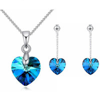Wholesale swarovski christmas gift resale online - Mini Heart Necklaces Pendant Earrings Crystals From Swarovski For Women Girls Gift Silver Color Chain Kids Jewelry Decorations