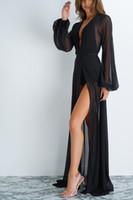 uzun elbise iç çamaşırı toptan satış-Kadın Şifon Seksi Gevşek Hırka Sheer Lingerie Kimono Bornoz Mayo Mayo See Through See Through Uzun Maxi Elbise