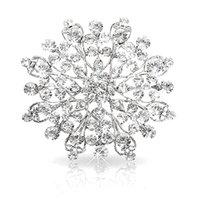 invitaciones claras al por mayor-2.3 InchVintage Rodio Plateado Claro Rhinestone Cristalino Diamante Invitación de Boda Broche de Joyería Pins Corsage mujeres