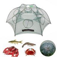 Wholesale 4 Holes Folding Automatic Fishing Net Fish Minnow Shrimp Crab Mesh Trap Portable Fishing Net Tools