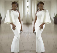 Wholesale pearl one shoulder dress resale online - Evening Dresses Wear White One Shoulder Half Sleeves Mermaid Formal Beading African Dubai Women Long Sheath Prom Robe De Soiree Gown