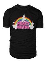 punk metal camiseta al por mayor-Unicornio Rainbow Heavy Metal Camiseta Death Metal Rock Punk Hombres Mujeres Camiseta Cuello Redondo Adolescente Pop Top Tee