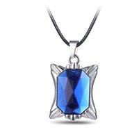 jóias azul preto venda por atacado-Anime jóias Black Butler Ciel Azul colar de Cristal colares Mulheres Collares Nocklace Pedra Sintética azul jóias