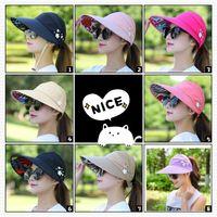 geniş ağızlı siyah şapka kadınlar toptan satış-Kadınlar için güneş Şapkaları Saçakları Şapka Balıkçılık Fisher Plaj Şapka UV Koruma Kap Siyah Casual Bayan Yaz Kapaklar At Kuyruğu Geniş Brim Şapka