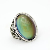 Wholesale mood stones for sale - Group buy Mens and Womens Gift Cool Design Magic Big Mood Stone Ring Colors Change Real Silver Plated Alloy Ring