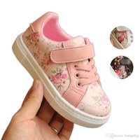 Wholesale baby girl first walk shoes for sale - Group buy Baby Girls Floral Sneakers Infant Toddler Casual Shoes PU Leather Rubber Outsole Walking Shoes First Walkers Birthday Gifts
