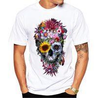 havalı rahat gömlek tasarımları toptan satış-Erkekler T Shirt Moda Voodoo Kafatası Tasarım Kısa Kollu Casual Hipster Çiçek Kafatası Baskılı Tişört Tee Serin Tops