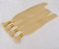 Wholesale human braiding hair weft free resale online - Blonde Color Brazilian Braiding Bulk Hair No Weft gram Straight Wave Human Hair Bulk For Braiding Buy Get Free