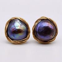 ingrosso orecchini di perle neri 14k-Nuovi orecchini di perle nere barocche fai da te, orecchini in oro 14K, unici e belli