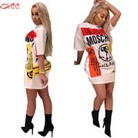 estilo sexy do hip hop venda por atacado-Moda Sexy Imprimir Vestido de Verão Lady Letras Doodle Casual Solto Mini Vestido de Estilo Hip Hop Personalidade Criativa Vestido S-2XL Q190423