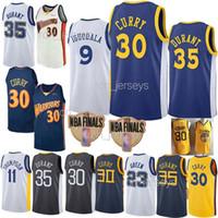 camisetas de baloncesto verde al por mayor-ncaa 30 camisetas de baloncesto de curry 35 Durant Draymond 23 Green 11 Thompson 9 lguodala 18 19 Jersey hombres