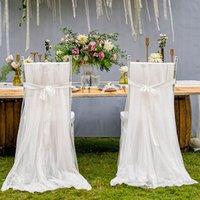 cadeiras cobre faixas venda por atacado-Wedding Cadeira Coberta romântico Bridal Party Banquetes cadeira para trás Sashes