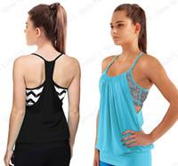 mavi sırt çantası toptan satış-Siyah Racerback Yoga Gömlek Dahili Sutyen Ile Kadın Tükenmişlik Spor Koşu Tank Top Mavi Seksi Halter Kolsuz Spor T Gömlek # 290057