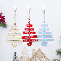 Wholesale black white tree painting resale online - Hot Sale Fashion Plaque Painted PC New DIY Tree shaped Xmas Tree Pendant Decor Hanging Ornament Wooden Home Party Decoration