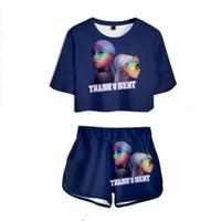 você configurou venda por atacado-Mulheres Two Piece Outfits Obrigado u próximo Ariana Grande 3D Impresso 2 Peça Set Top Curto e Calças Curtas Treino Para Mulheres conjuntos