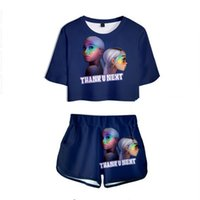 Wholesale yoga outfits for women for sale - Group buy Women Two Piece Outfits Thank u next Ariana Grande D Printed Piece Set Crop Top and Short Pants Tracksuit For Women Sets