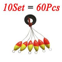 frijoles espacio de pesca al por mayor-10set = 60pcs Seven-star Oval Fishing Float Space Beans Fix Stopper Floater Bobber Fishing Tool