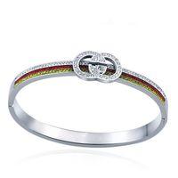 formulação de pulseira venda por atacado-2019 titanium aço jóias atacado g set diamante designer pulseira g palavra titanium amantes de aço pulseira pulseira de luxo