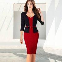 neue art und weise elegante bürokleider großhandel-Gefälschtes zweiteilige Frauen Büro-Kleid Neue Arbeits-Kleider 2019 Frauen arbeiten elegantes Patchwork-Geschäft, figurbetontes Kleid Schärpen
