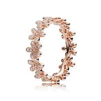 ingrosso scatola dell'anello del fiore di rose-Anelli di cerimonia nuziale del fiore della margherita dell'oro della Rosa 18K imposta la scatola originale per gli anelli delle donne dei monili del progettista di lusso dell'argento sterlina 925