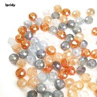 cuentas de vidrio grandes agujeros al por mayor-100 unids / lote 10 mm Mezclado Galjanoplastia Rainbow Glass Beads, Crystal Tire Rondelle, Gran Agujero Suelto Spacer Beads para DIY Jewelry Making
