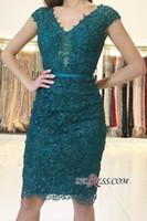 olivgrün kleider mutter braut großhandel-Elegante grüne Spitze-Applikationen Mantel V-Ausschnitt Cocktailkleider Spitze Applikationen Perlen Mantel Mutter der Braut Kleid