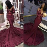 ingrosso i lati del merletto del vestito nero-Maroon Borgogna Prom Dresses 2019 Mermaid Illusion Paillettes Lace Top Black Girls 'Plus Size Pageant Evening Formal Party Gown BC1250