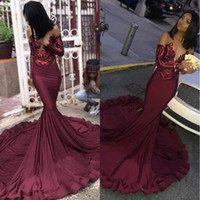 Wholesale ruffle sleeves top dresses for sale - Maroon Burgundy Prom Dresses Mermaid Illusion Sequins Lace Top Black Girls Plus Size Pageant Evening Formal Party Gowns BC1250